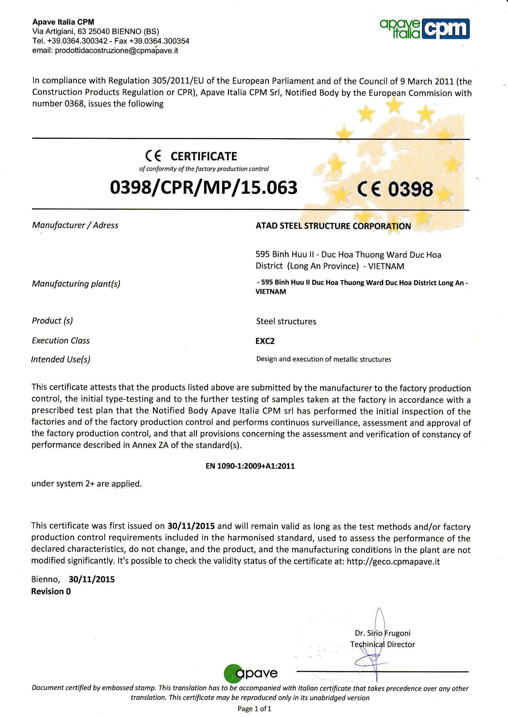 EN1090 EXC2 CERTIFICATE (ENGLISH)