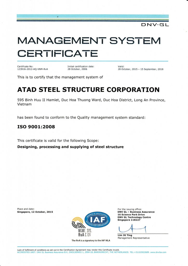 ISO 9001 2008 CERTIFICATE 2015