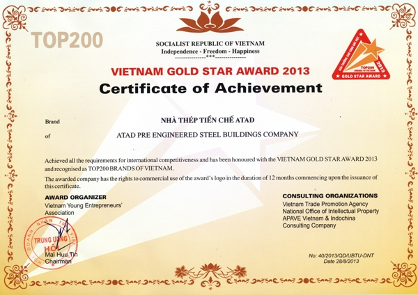 ATAD's VietNam Gold Star Award 2013