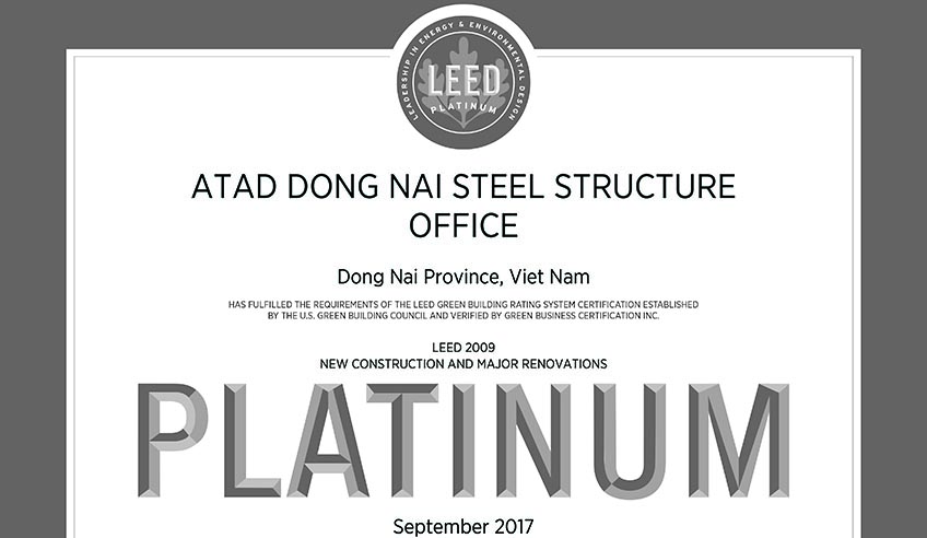 Atad dong nai achieves both leed gold and leed platinum for Advantages of leed certification