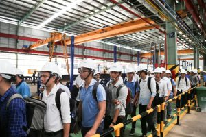 Students took a factory-tour