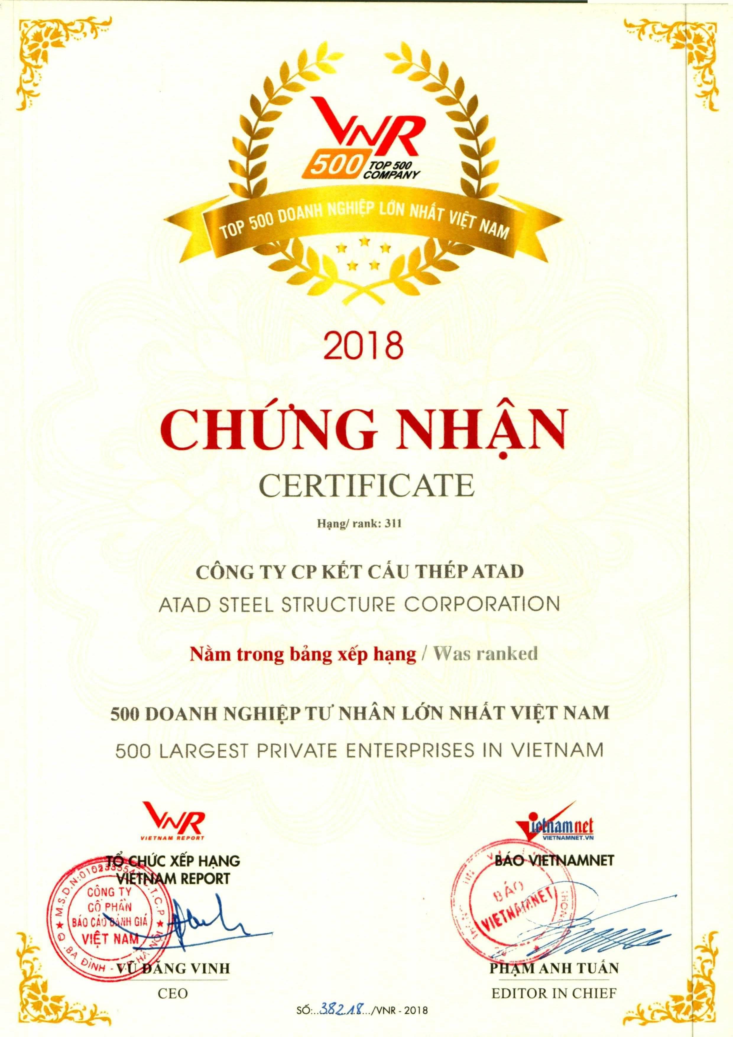 500 LARGEST PRIVATE ENTERPRISES IN VIETNAM