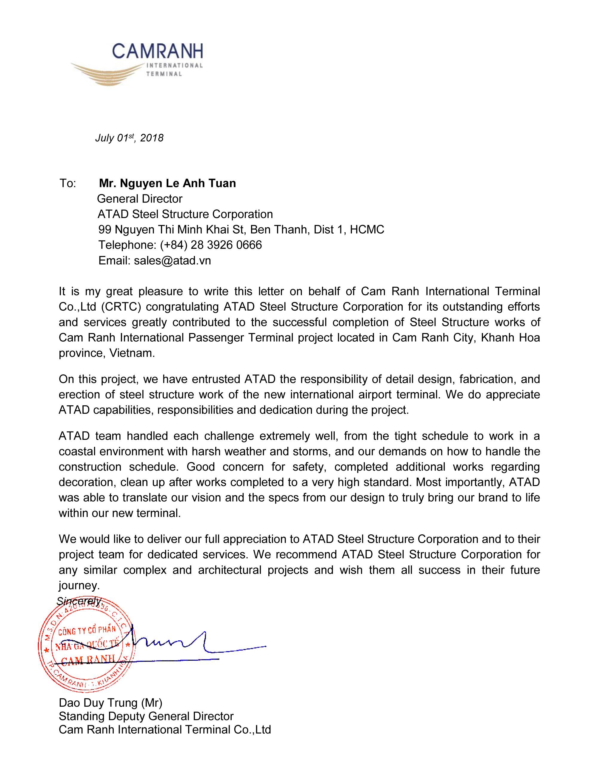 Cam Ranh Testimonial